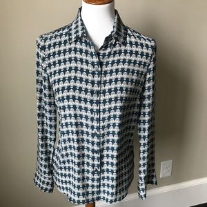 J. Crew silk owl print blouse